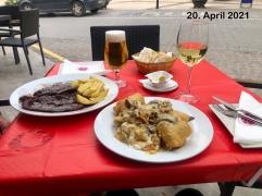 Etwas, was in D noch nicht möglich ist. Zum Abendessen: Filet vom Iberisches Schwein und Bakkalau ein Fischgericht 👍